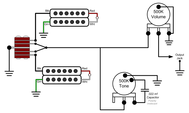 Jackson Wiring Diagrams in addition 2 Humbucker Wiring Diagrams together with Dimarzio Pickup Wiring Diagram together with 94090 Socal Wiring Mods likewise Dimarzio Hh Wiring. on dimarzio super distortion wiring diagram