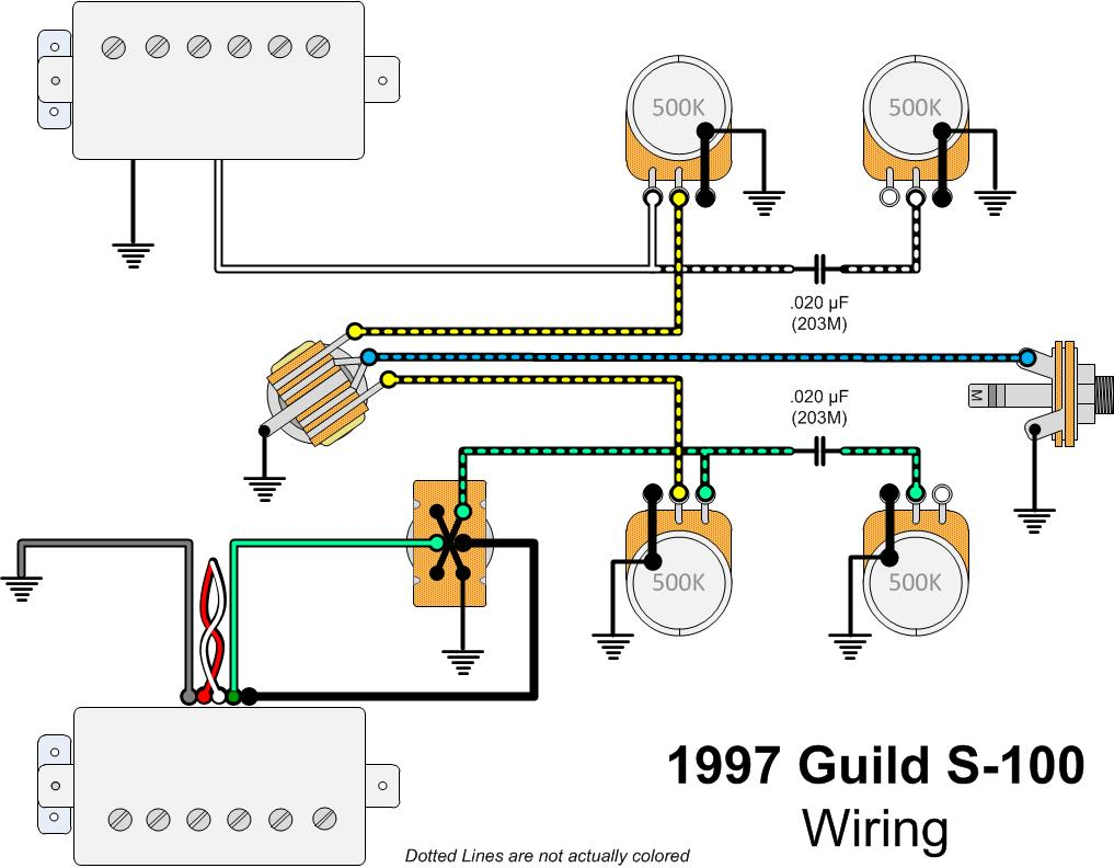 1997 Guild S 100 Guitar Gads Ramblings 1970 Sg Wiring Diagram I Had A S300a D For Years With This Feature But Never Liked It Possibly Because That Was Ash And Therefor Much Brighter