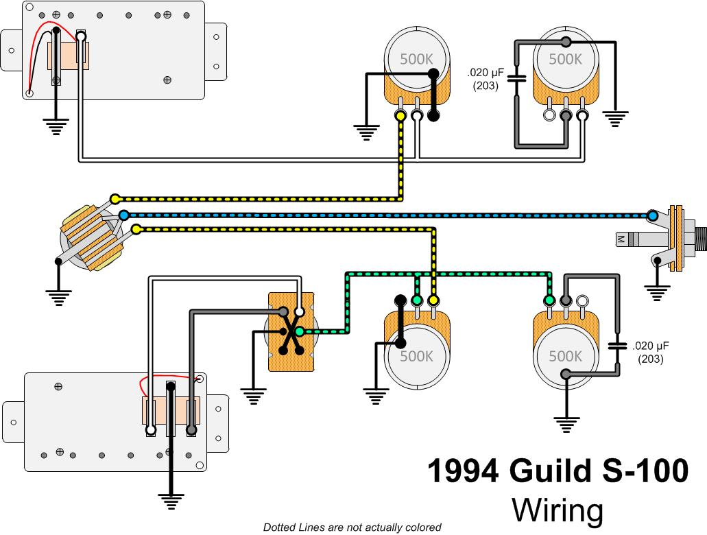 1994 Guild S 100 Polara Gads Ramblings Wiring Diagram Guitar Rig This Has Decoupled Which Means That With The Pickup Selector Switch In Middle Position Both Pickups On Rolling One Of Volume