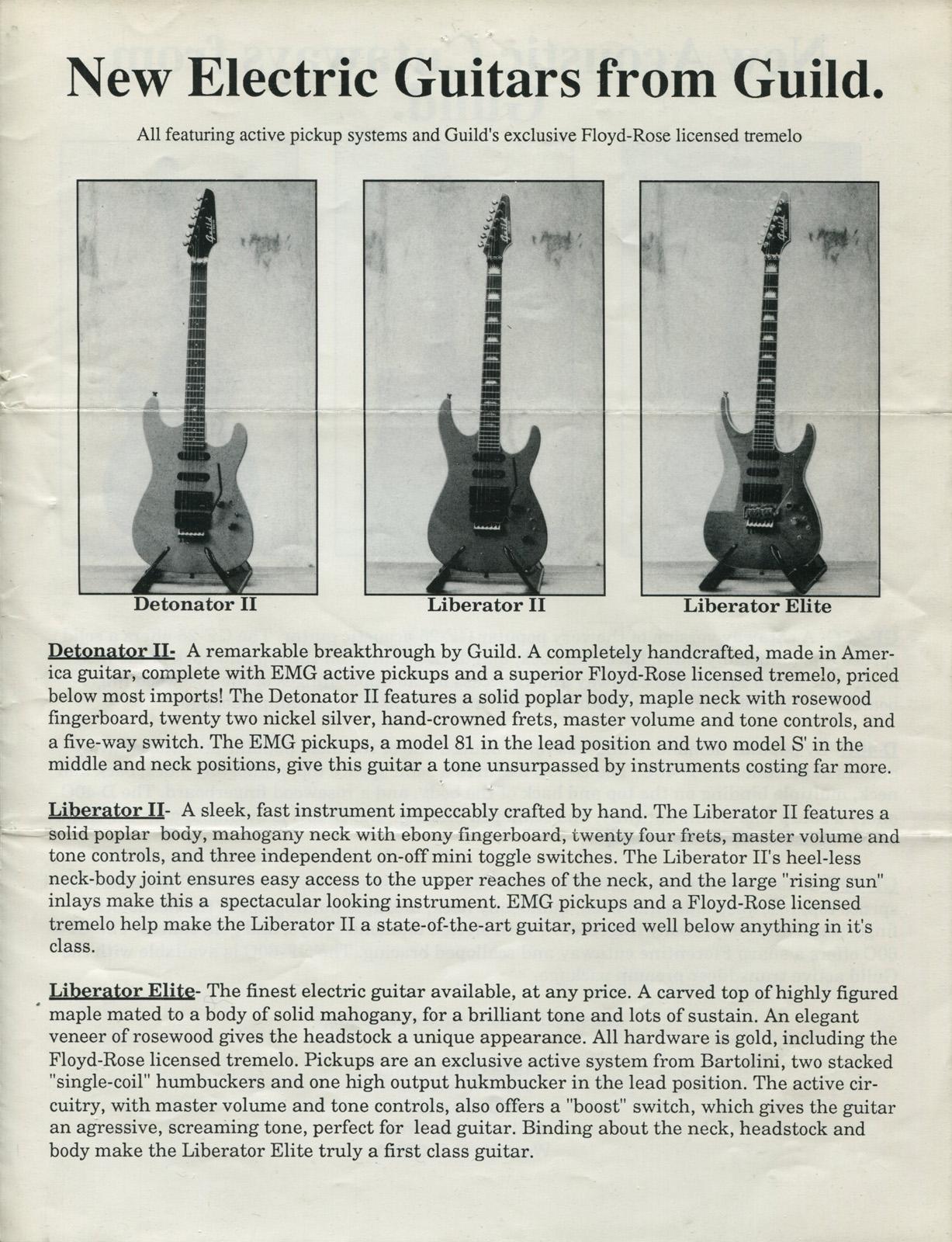 Guild Liberator Elite Gads Ramblings Floyd Rose Diagram 1988 Mailer 1600