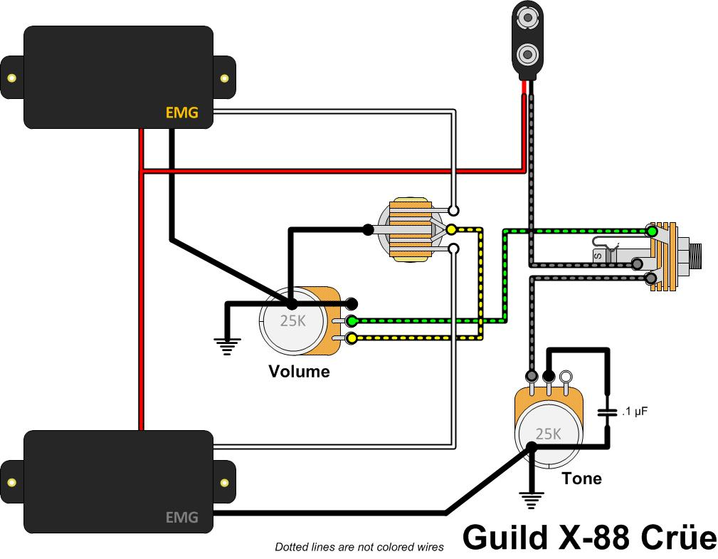 Guild Flying Star X 88 Cre Gads Ramblings Emg Hb Wiring Diagram The Is Interesting For A Couple Of Reasons First Hot Signal Lead Never Touches Tone Pot Completely Contained On