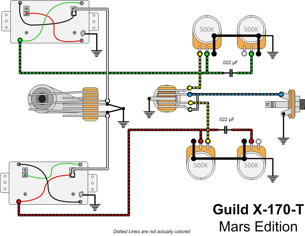 Guild X170t Mars Gads Ramblings Coil Split Wiring The Addition Of Makes A Bit More Complicated Than Normal X 170 But Not Really By Much It Just Looks Because