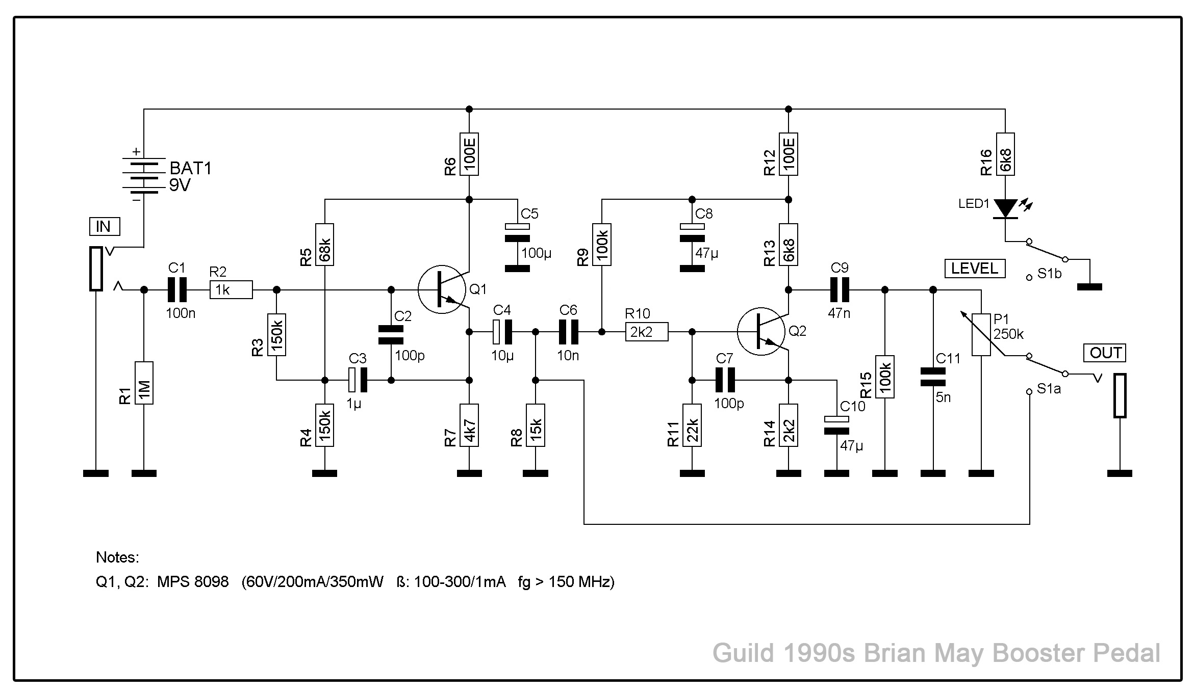 Guild Brian May Treble Booster Pedals | GAD's Ramblings on boost pedal pcb, turbocharger schematic, boost pedal placement, klon schematic, compressor schematic, guitar switcher schematic, ibanez tube screamer schematic, boost controller schematic, boost pump schematic, lpb-1 schematic, amp selector schematic, distortion schematic, fender blender schematic, equalizer schematic, 11 amp schematic, pneumatic jack hammer schematic, npn schematic, pressure regulator schematic, colorsound power boost schematic, boost regulator schematic,